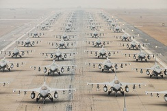 U.S. and South Korean F-16s demonstrate an 'Elephant Walk' as at Kunsan Air Base