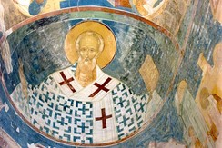 Saint Nicholas, the patron saint of Russian merchants. Fresco by Dionisius from the Ferapontov Monastery.