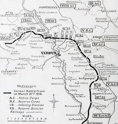 German dispositions, Verdun, 31 March 1916