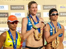 United States and Brazil have won most of the Olympic medals of beach volleyball. Picture shows Juliana Silva (left) of Brazil, with Kerri Walsh (center) and Misty May-Treanor of the United States at the 2011 FIVB Moscow Grand Slam.