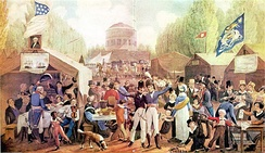 "Independence Day Celebration in Centre Square (1819)  by John Lewis Kimmel exemplifies the spirit of the ""Era of Good Feelings"""