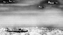 B-29s of the 58th Bomb Wing on a mission to Rangoon, Burma, 1944
