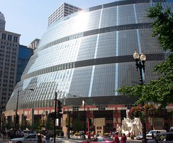 The James R. Thompson Center in the Loop