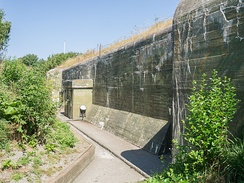 "Dutch ""kazemat"", part of the Kornwerderzand fortifications at the Afsluitdijk. In May 1940, during the Battle of the Afsluitdijk, where a German attack was repulsed. Only after  Rotterdam was bombed on the 14th of May did the fortifications surrender."
