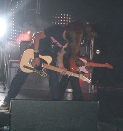 Bloc Party's Lissack and Okereke on stage in Cardiff in October 2005