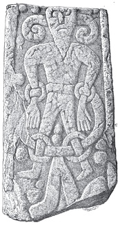 The Kirkby Stephen Stone, discovered in Kirkby Stephen, England, depicts a bound figure, who some have theorized may be the Germanic god Loki.[132]