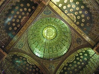 Interior of domes in the Alabaster Mosque in Cairo, Egypt