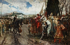 January 2, 1492 – Muhammad XII, last Moorish Emir of Granada, surrenders his city to the army of Ferdinand and Isabella.