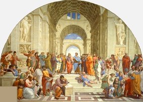 The School of Athens by Raphael (1511): Contemporaries such as Michelangelo and Leonardo da Vinci (centre) are portrayed as classical scholars.