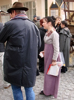 Hawkins in Bath during location shooting for Persuasion in 2006