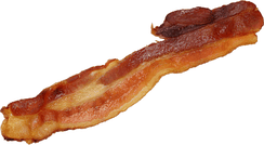 A strip of cooked side (streaky) bacon