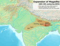 The Magadha state c. 600 BCE, before it expanded from its capital Rajagriha – under the Haryanka dynasty and the successor Shishunaga dynasty.
