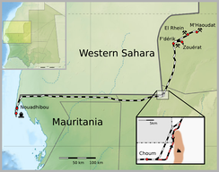 The Mauritania Railway. The inset shows the shorter route cutting through Western Sahara and the longer route within Mauritania through difficult terrain.