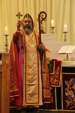Bishop of the Mar Thoma Syrian Church in liturgical vestments