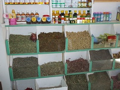 A herb shop in the souk of Marrakesh, Morocco