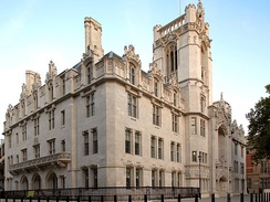 The former Middlesex Guildhall in Parliament Square is the location of the Supreme Court of the United Kingdom.