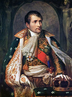 Portrait of Napoleon as King of Italy. He renounced the Italian throne, along with the French, on 11 April 1814.