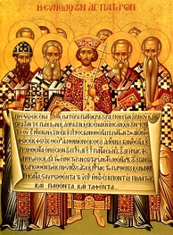Icon depicting the Emperor Constantine and the bishops of the First Council of Nicaea (325) holding the Niceno–Constantinopolitan Creed of 381