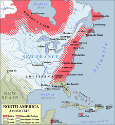 The Thirteen Colonies and neighboring polities in 1748