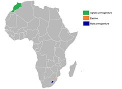 African monarchies by succession:   Agnatic primogeniture   Elective   Male-preference primogeniture