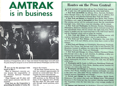 Penn Central Railroad's employee publication announcing the inauguration of Amtrak on May 1, 1971. Penn Central Amtrak routes are shown.