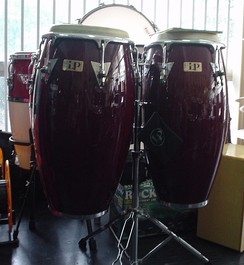 A pair of Latin Percussion conga drums