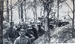 Polish soldiers in trenches on the Polish-German front,  January 1919
