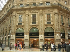 The Prada boutique at the Galleria Vittorio Emanuele II in Milan, Italy.