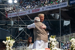 Indian Prime Minister Narendra Modi and U.S. President Donald Trump at the Namaste Trump rally in Ahmedabad, India on 24 February 2020