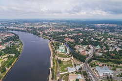 Aerial view of Pskov near the Kremlin