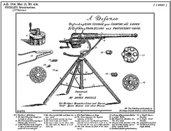 James Puckle's 1718 early autocannon was one of the first inventions required to provide a specification for a patent.