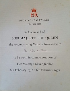 Queen's Silver Jubilee Medal certificate, awarded to PC Alan E Swain.