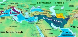 Rome, Parthia and Seleucid Empire in 200 BC. Soon both the Romans and the Parthians would invade the Seleucid-held territories, and become the strongest states in western Asia.