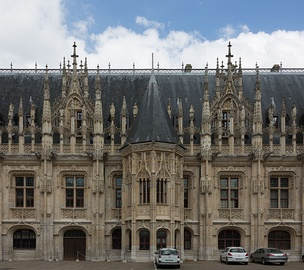 Gothic façade of the Parlement de Rouen in France, built between 1499 and 1508, which later inspired neo-Gothic revival in the 19th century