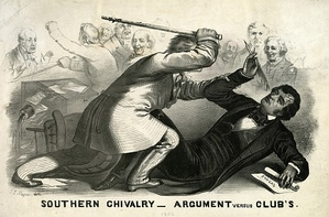 Lithograph of Preston Brooks' 1856 attack on Sumner; the artist depicts the faceless assailant bludgeoning the learned martyr