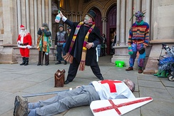 The Doctor brings St George back to life in a 2015 production by the St Albans Mummers.