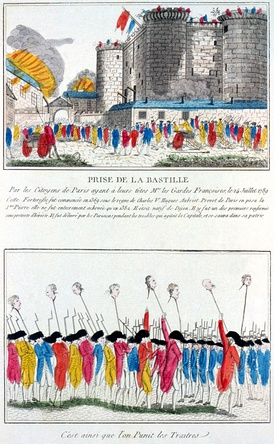 French etching from 1789 depicting the storming of the Bastille, commemorated as Bastille Day