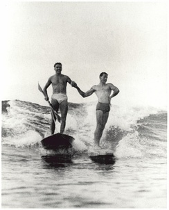 Synchronized surfing, Manly Beach, New South Wales, Australia, 1938–46