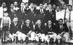 Thai team at the 1956 Olympics, Melbourne before its biggest defeat by the United Kingdom.