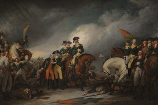 The Capture of the Hessians at Trenton, December 26, 1776, by John Trumbull, showing Captain William Washington, with wounded hand, on the right and Lt. Monroe, severely wounded and helped by Dr. Riker, left of center