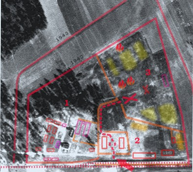 "The 1944 aerial photo of Treblinka II after efforts at ""clean-up"", or disguising its role as a death camp. The new farmhouse and livestock building are visible to the lower left.[66] The photograph is overlaid with outlines of already-dismantled structures (marked in red/orange). On the left are the SS and Hiwi (Trawniki) guards' living quarters (1), with barracks defined by the surrounding walkways. At the bottom (2) are the railway ramp and unloading platform (centre), marked with the red arrow. The ""road to heaven""[67] is marked with a dashed line. The undressing barracks for men and women, surrounded by a solid fence with no view of the outside, are marked with two rectangles. The location of the new, big gas chambers (3) is marked with a large X. The burial pits, dug with a crawler excavator, are marked in light yellow."
