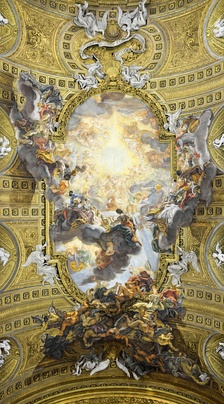 Quadratura or trompe-l'œil  ceiling of the Church of the Jesu, Rome, by Giovanni Battista Gaulli (1669–1683)