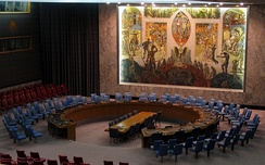 The United Nations Security Council mural, by Per Krohg (1952), towers over meetings of the Security Council at UN headquarters in New York City