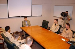 Senator Talent addresses a group of sailors from Missouri on board Naval Support Activity Bahrain in 2004