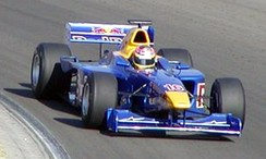 Liuzzi driving for the Red Bull Junior Team at the Hungary round of the 2003 International Formula 3000 season