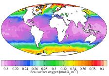 Среднегодовое содержание на морской поверхности растворенного кислорода (2009)