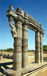 Kakatiya Kala Thoranam (Warangal Gate) built by the Kakatiya dynasty in ruins; one of the many temple complexes destroyed by the Delhi Sultanate.[306]