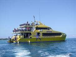 The Yasawa Flyer ferry connects Port Denarau near Nadi with the Yasawa Islands.