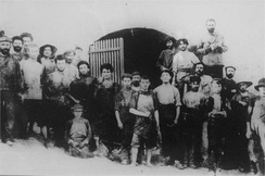 Ben Gurion working at Rishon Lezion winery 1908 (front row 6th from right)