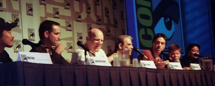 Panel at ComicCon 2007 on the 15th anniversary of the founding of Image Comics. From left: Jim Lee, Todd McFarlane, Erik Larsen, Jim Valentino, Marc Silvestri, Rob Liefeld and Whilce Portacio.